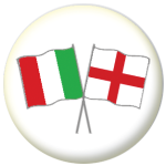Italy and England Friendship Flag 25mm Pin Button Badge